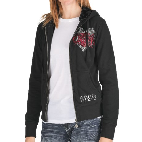 Rock & Roll Cowgirl Crossed Guns Hoodie - Bubble French Terry Knit, Faux-Fur Lining (For Women) in Black