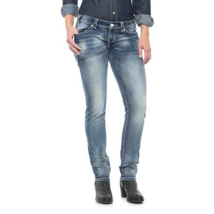 Rock & Roll Cowgirl Crossing Seam Extra-Stretch Skinny Jeans - Low Rise (For Women) in Medium Vintage - Closeouts