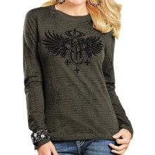 Rock & Roll Cowgirl Crown Wings T-Shirt - Long Sleeve (For Women) in Olive - Closeouts