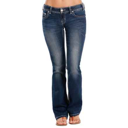 Rock & Roll Cowgirl Curved Chain Stitch Jeans - Low Rise, Bootcut (For Women) in Dark Vintage - Closeouts