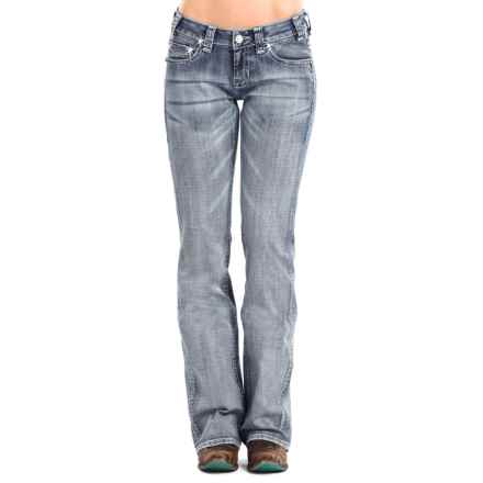 Rock & Roll Cowgirl Curved Line Jeans - Riding Fit, Bootcut (For Women) in Light Wash - Closeouts