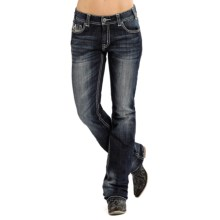 Rock & Roll Cowgirl Curved Line Pocket Boyfriend Jeans (For Women) in Dark Vintage Wash - Closeouts