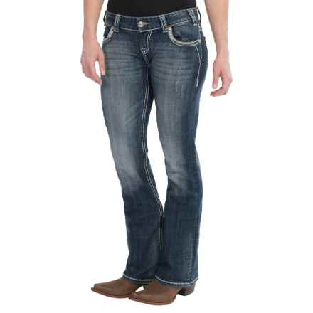 Rock & Roll Cowgirl Curvy Top-Stitch Jeans - Low Rise, Bootcut (For Women) in Dark Vintage Wash - Closeouts