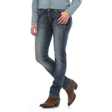 Rock & Roll Cowgirl Dart Detail Skinny Jeans - Low Rise (For Women) in Dark Vintage - Closeouts