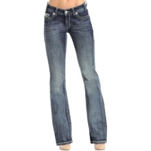 Rock & Roll Cowgirl Dazzling Diamond Jeans - Mid Rise, Bootcut (For Women) in Dark Vintage Wash - Closeouts