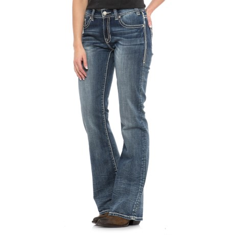 Rock & Roll Cowgirl Diagonal Embroidery Triangle Jeans - Mid Rise, Bootcut (For Women) in Medium Vintage Wash