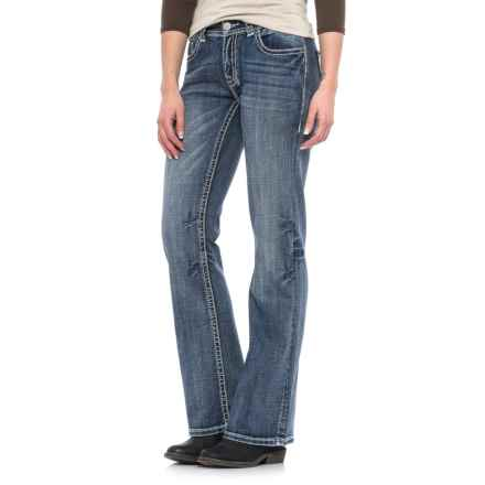 Rock & Roll Cowgirl Diamond and Leather Jeans - Mid Rise, Bootcut (For Women) in Medium Vintage - Closeouts