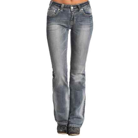 Rock & Roll Cowgirl Diamond Pocket Jeans - Mid Rise, Bootcut (For Women) in Light Vintage - Closeouts
