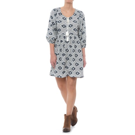 Rock & Roll Cowgirl Diamond Printed Peasant Dress - Elbow Sleeve (For Women) in Navy