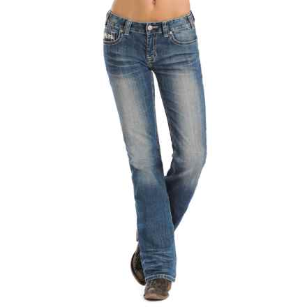 Rock & Roll Cowgirl Diamond Stitch Rhinestone Jeans - Mid Rise, Bootcut (For Women) in Medium Vintage - Closeouts