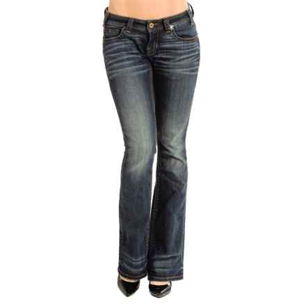 Rock & Roll Cowgirl Diamond Stitch Rival Jeans - Low Rise, Bootcut (For Women) in Dark Wash - Closeouts