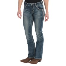 Rock & Roll Cowgirl Diamond Tribal Jeans - Medium Rise, Bootcut (For Women) in Medium Vintage Wash - Closeouts
