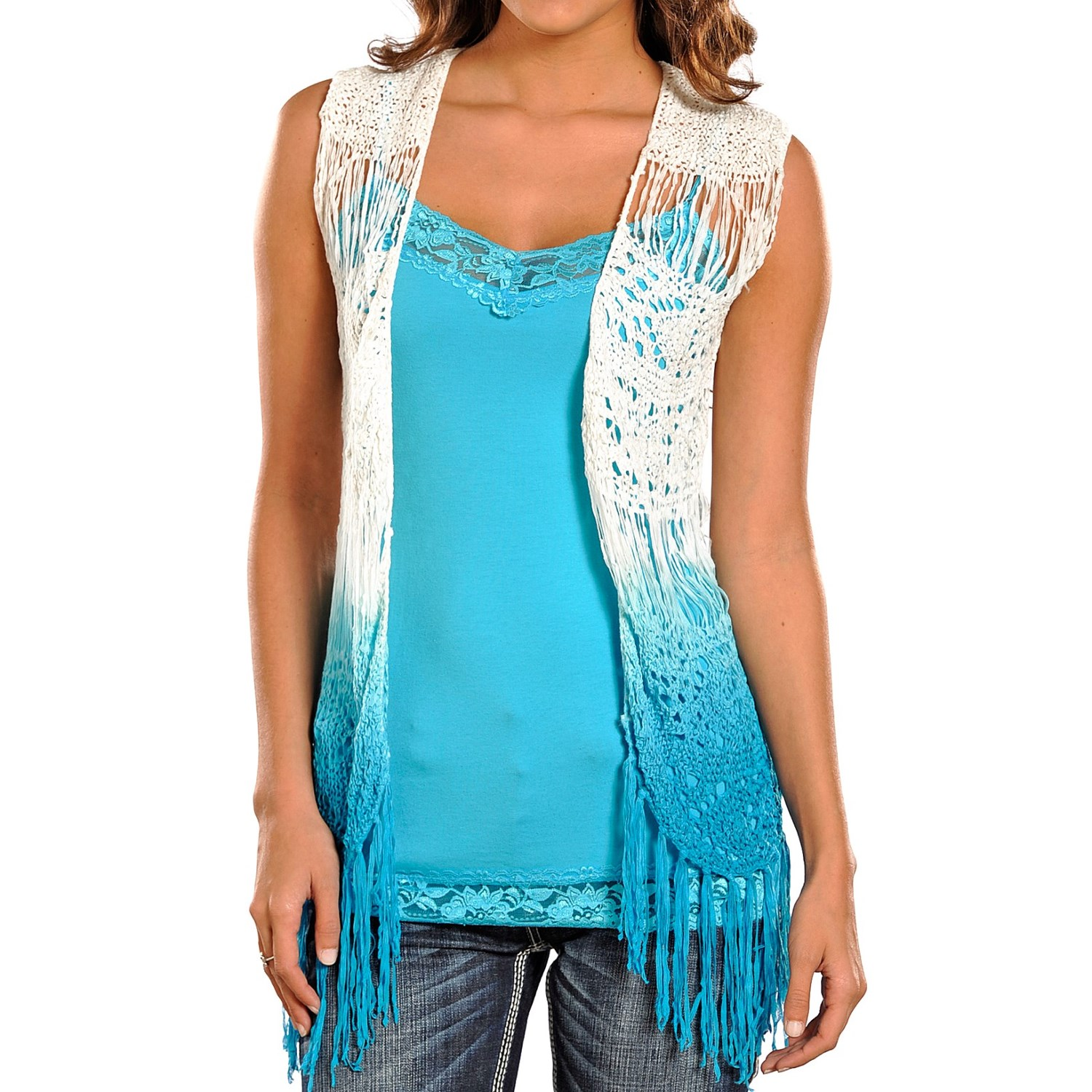 Rock & Roll Cowgirl Dip-Dyed Crochet Vest (For Women) in White ...