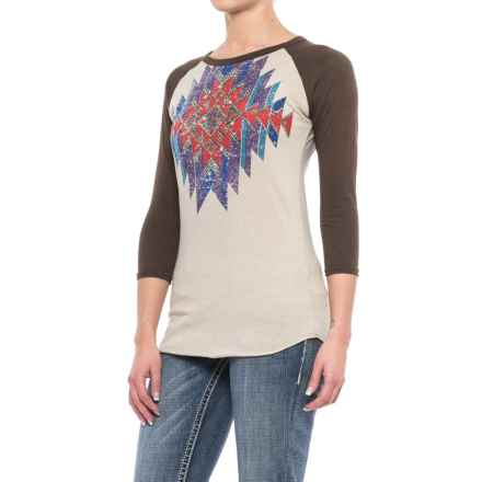Rock & Roll Cowgirl Distressed Aztec Print Baseball Shirt - 3/4 Sleeve (For Women) in Brown/Multi - Closeouts