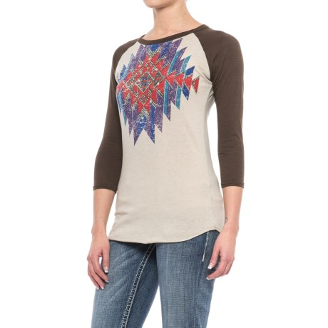 Rock & Roll Cowgirl Distressed Aztec Print Baseball Shirt - 3/4 Sleeve (For Women)