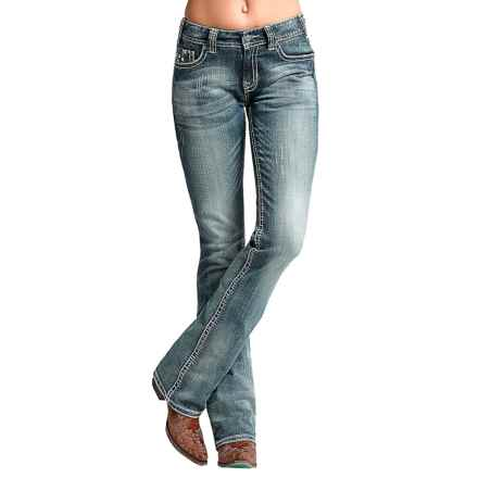 Rock & Roll Cowgirl Distressed Bootcut Jeans - Mid Rise (For Women) in Medium Vintage - Closeouts