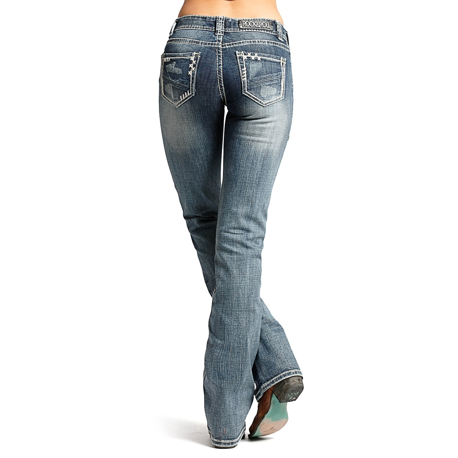 Rock & Roll Cowgirl Distressed Bootcut Jeans (For Women) - Save 50%