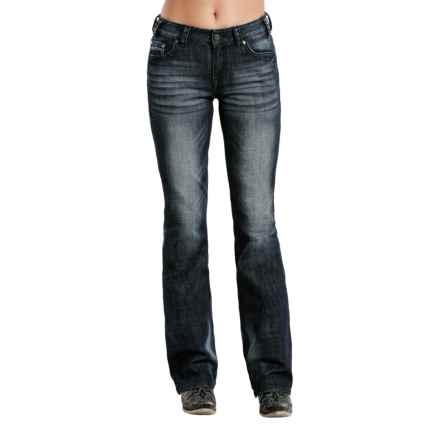 Rock & Roll Cowgirl Distressed Jeans - Mid Rise, Bootcut (For Women) in Dark Vintage - Closeouts