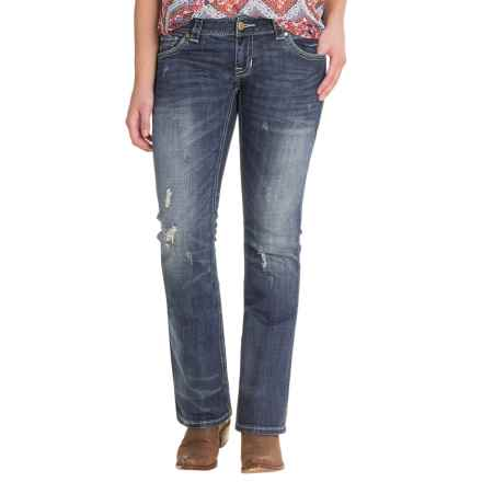 Rock & Roll Cowgirl Distressed Pocket Jeans - Low Rise, Bootcut (For Women) in Medium Vintage Wash - Closeouts