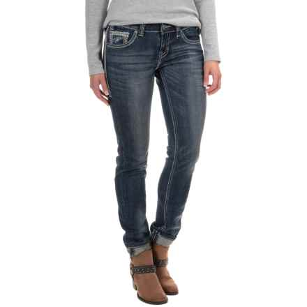 Rock & Roll Cowgirl Distressed Skinny Jeans - Low Rise (For Women) in Dark Destroyed - Closeouts