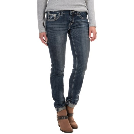 Rock & Roll Cowgirl Distressed Skinny Jeans - Low Rise (For Women) in Dark Destroyed