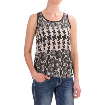 Rock & Roll Cowgirl Distressed Snake Print Georgette Tank Top - Scoop Neck (For Women) in Black - Closeouts