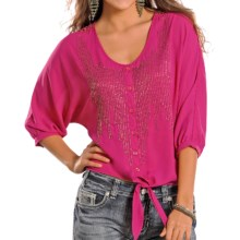Rock & Roll Cowgirl Dolman Blouse - Crocheted, Button Up, 3/4 Sleeve (For Women) in Fuschia - Closeouts