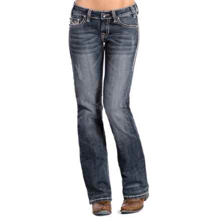 Rock & Roll Cowgirl Double Ivory Stitch Jeans - Low Rise, Rhinestone Rivets (For Women) in Medium Vintage Wash - Closeouts