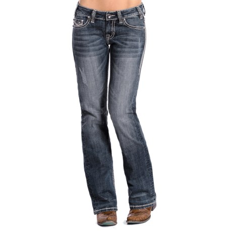 Rock & Roll Cowgirl Double Ivory Stitch Jeans - Low Rise, Rhinestone Rivets (For Women) in Medium Vintage Wash
