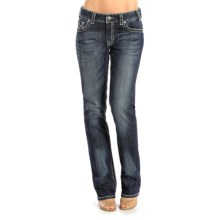 Rock & Roll Cowgirl Embroidered Boyfriend Jeans - Mid Rise, Bootcut (For Women) in Dark Vintage Wash - Closeouts