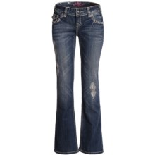 Rock & Roll Cowgirl Embroidered Detail Jeans - Low Rise, Bootcut (For Women) in Medium Wash - Closeouts