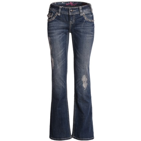 Rock & Roll Cowgirl Embroidered Detail Jeans - Low Rise, Bootcut (For Women) in Medium Wash