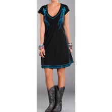 Rock & Roll Cowgirl Embroidered Dress - V-Neck, Short Sleeve (For Women) in Black - Closeouts