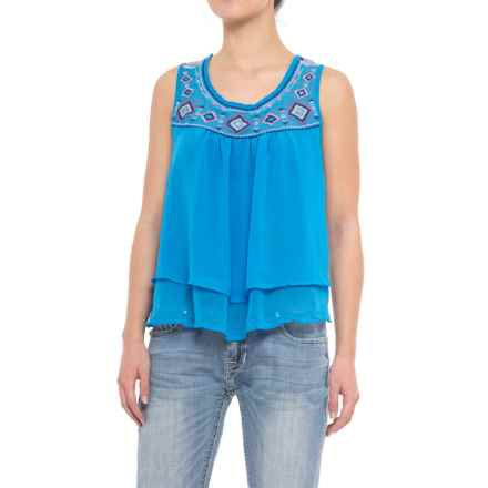 Rock & Roll Cowgirl Embroidered Georgette Tank Top (For Women) in Turquoise - Closeouts