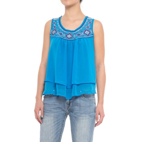 Rock & Roll Cowgirl Embroidered Georgette Tank Top (For Women)