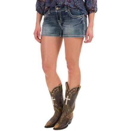 Rock & Roll Cowgirl Embroidered Jean Shorts - Low Rise (For Women) in Medium Vintage - Closeouts