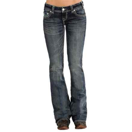 Rock & Roll Cowgirl Embroidered Jeans - Low Rise, Bootcut (For Women) in Medium Vintage Wash - Overstock