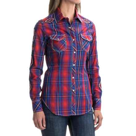 Rock & Roll Cowgirl Embroidered Plaid Shirt - Snap Front, Long Sleeve (For Women) in Purple/Red - Closeouts