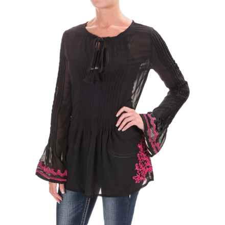 Rock & Roll Cowgirl Embroidered Pleated Tunic Shirt - Long Sleeve (For Women) in Black - Closeouts
