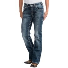 Rock & Roll Cowgirl Embroidered Rhinestone Jeans - Mid Rise, Bootcut (For Women) in Dark Vintage Wash - Closeouts