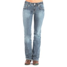 Rock & Roll Cowgirl Embroidered Rhinestone Jeans - Mid Rise, Bootcut (For Women) in Light Vintage Wash - Closeouts