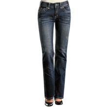Rock & Roll Cowgirl Embroidered Tribal Cross Jeans - Mid Rise, Bootcut (For Women) in Med Wash - Closeouts