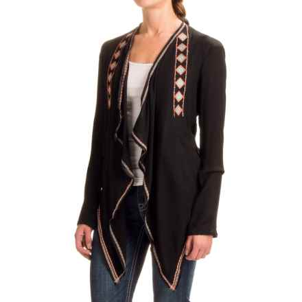 Rock & Roll Cowgirl Embroidered Wrap Cardigan Shirt - Long Sleeve (For Women) in Black - Closeouts