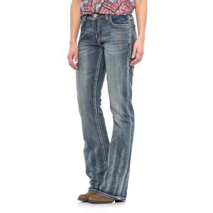 Rock & Roll Cowgirl Embroidery Boyfriend Jeans - Bootcut (For Women) in Dark Vintage - Closeouts