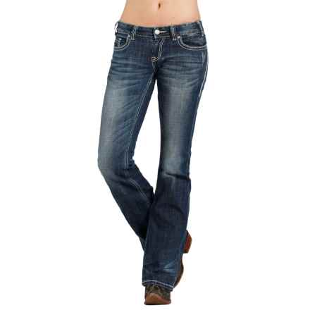 Rock & Roll Cowgirl Embroidery Jeans - Low Rise, Bootcut (For Women) in Medium Vintage - Closeouts