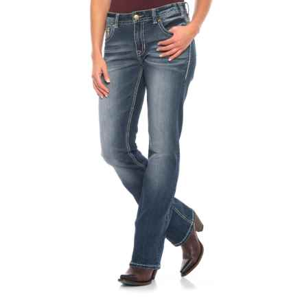 Rock & Roll Cowgirl Extra Stretch Boyfriend Jeans - Multi-Stitched Back Pocket (For Women) in Dark Vintage - Closeouts