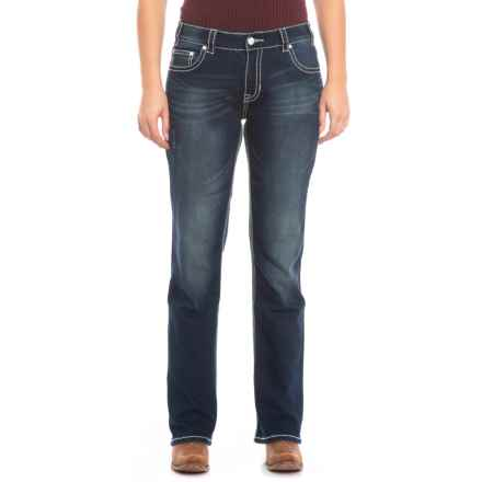 Rock & Roll Cowgirl Extra Stretch Boyfriend Jeans - Straight Leg (For Women) in Dark Wash - Closeouts