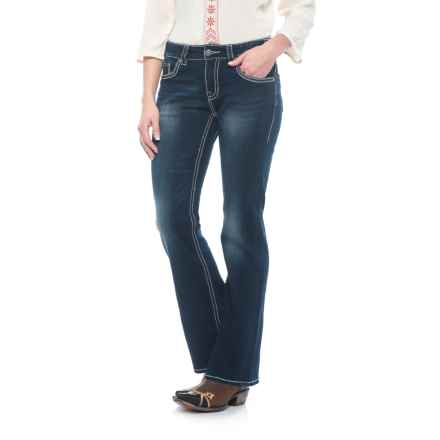 Rock & Roll Cowgirl Extra Stretch Geometric Embroidered Jeans - Mid Rise, Bootcut (For Women) in Dark Vintage Wash - Closeouts