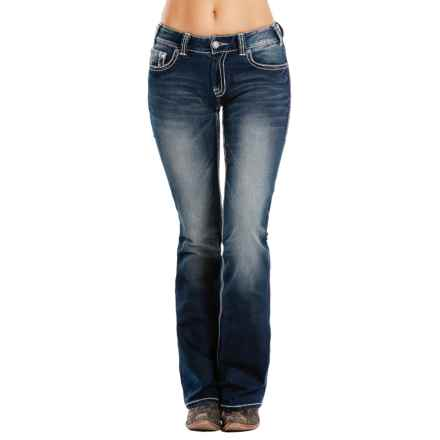 Rock & Roll Cowgirl Extra Stretch Jeans - Mid Rise, Bootcut (For Women) in Dark Vintage - Closeouts