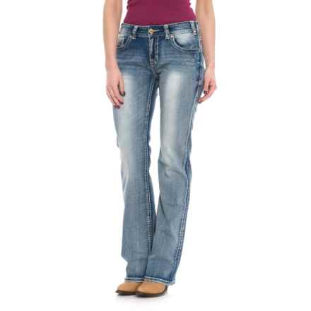 Rock & Roll Cowgirl Extra Stretch Jeans - Mid Rise, Bootcut (For Women) in Light Vintage - Closeouts